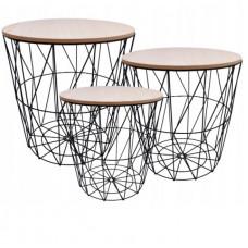 Konferenčný stolík set Inlea4Home 9169/9152/9145 - čierny/naturálny Preview