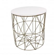 Konferenčný stolík 35/36,5 cm Inlea4Home 9060 - zlatý/biely Preview