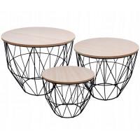 Konferenčný stolík set Inlea4Home 9053/9046/9039 - čierny/naturálny