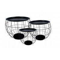 Konferenčný stolík set Inlea4Home 9107/9091/9084 - čierny