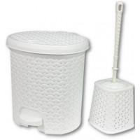 Nášľapný odpadkový kôš imitácia ratanu 5,5 l a WC kefa Inlea4Home - biela