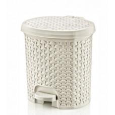 Nášľapný odpadkový kôš imitácia ratanu 5,5 l Inlea4Home - biely Preview