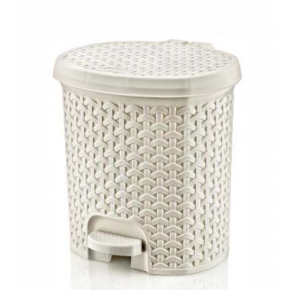 Nášľapný odpadkový kôš imitácia ratanu 5,5 l Inlea4Home - biely