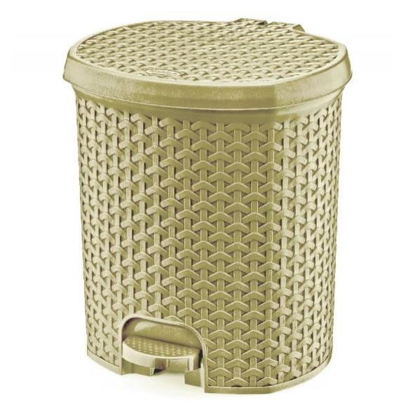 Nášľapný odpadkový kôš imitácia ratanu 11,5 l Inlea4Home - béžový