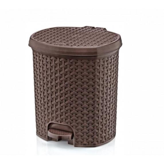 Nášľapný odpadkový kôš imitácia ratanu 11,5 l Inlea4Home - hnedý