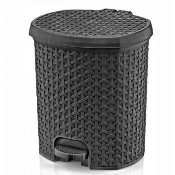 Nášľapný odpadkový kôš imitácia ratanu 21 l Inlea4Home - sivý