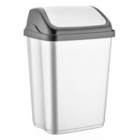 Odpadkový kôš s výklopným vekom plastový 50 l VITTORIO - biely