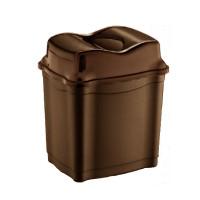 Odpadkový kôš s výklopným vekom plastový 28 l Inlea4Home - hnedý