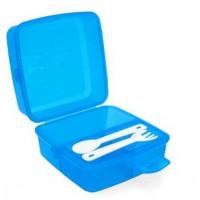 Potravinový box na občerstvenie s príborom 1,4 l Inlea4Home - modrý
