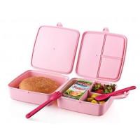 Potravinový box na občerstvenie s príborom 1,4 l Inlea4Home - ružový
