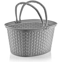 Košík s ratanovým efektom s úchytmi 12 L Inlea4Home - sivý