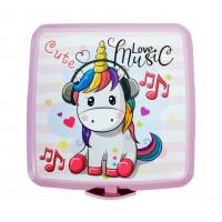 Potravinový box na občerstvenie s príborom Inlea4Home - jednorožec Music