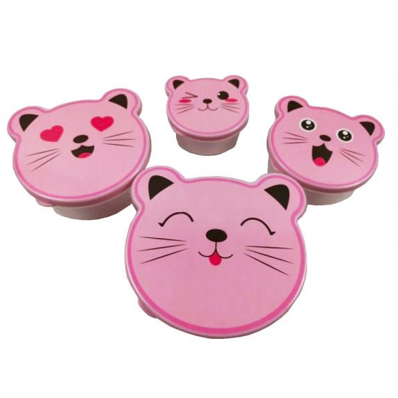 Dóza na potraviny sada  zvieratká 4 ks Inlea4Home - mačka ružová
