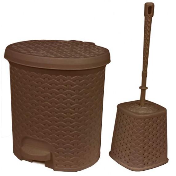 Nášľapný odpadkový kôš imitácia ratanu 5,5 l a WC kefa Inlea4Home - hneda