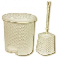 Nášľapný odpadkový kôš imitácia ratanu 5,5 l a WC kefa Inlea4Home -béžová