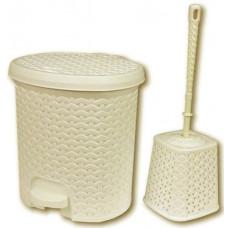 Nášľapný odpadkový kôš imitácia ratanu 5,5 l a WC kefa Inlea4Home -béžová Preview
