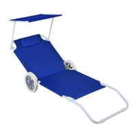 InGarden plážové lehátko na kolieskach PALM modré