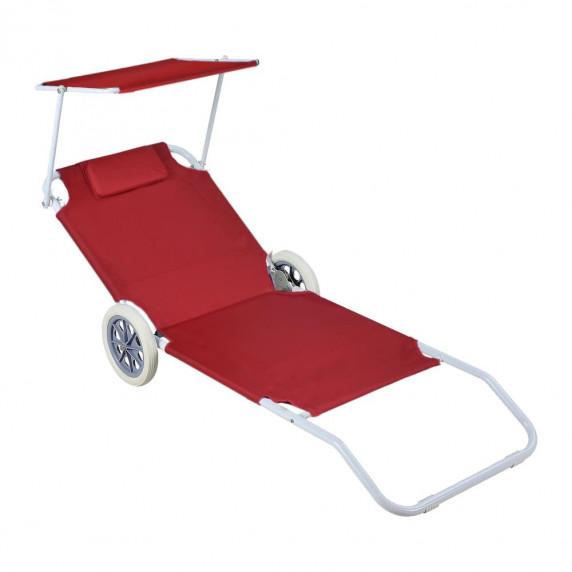 Plážové lehátko na kolieskach InGarden PALM červené
