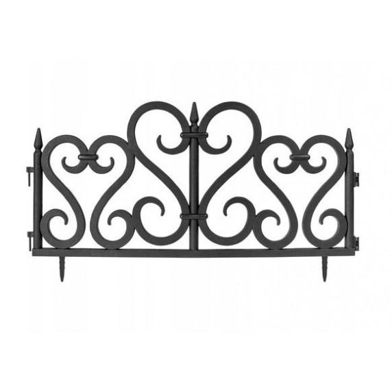 GARDEN LINE Záhradný plastový plot 59,5 x 37 cm - sada 4 ks - čierna