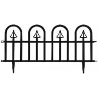 GARDEN LINE Záhradný plastový plot čierny 60 x 30,5 cm - sada 4 ks