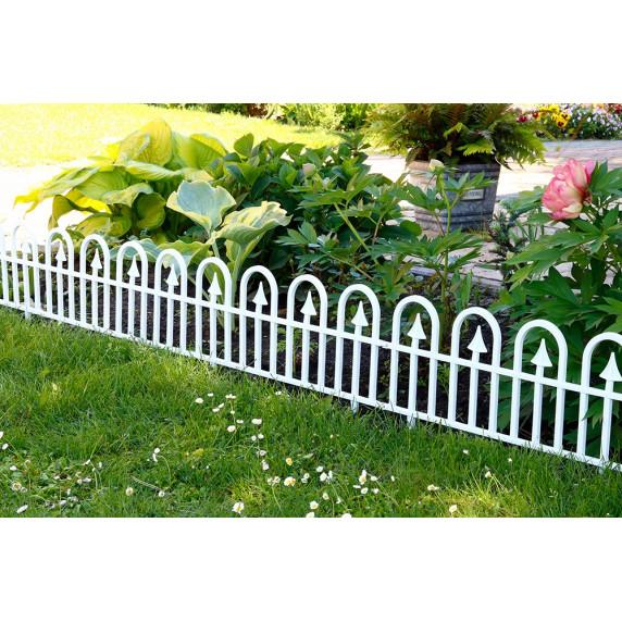 Záhradný plastový plot GARDEN LINE biely 60 x 30,5 cm - sada 4 ks