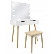 Inlea4Fun Toaletný stolík so zrkadlom a LED svetlom, zásuvkami a stoličkou Preview