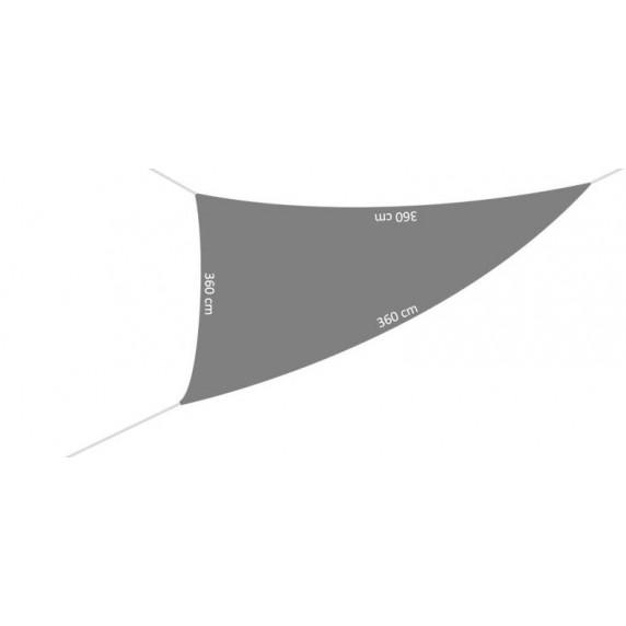 Trojuholníková záhradná tieniaca plachta 3,6 x 3,6 x 3,6 m - sivá