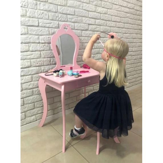 Inlea4Fun Detský toaletný stolík - ružový