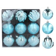 Vianočné gule 9 kusov 6 cm Inlea4Fun - modré Preview