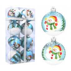 Vianočné gule 8 kusov 6 cm Inlea4Fun - Modré/Snehuliak Preview