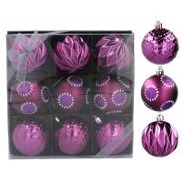 Vianočné gule 9 kusov 6 cm Inlea4Fun - fialové