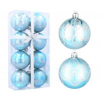 Inlea4Fun Vianočné gule 8 kusov 6 cm - Modré/kvapky dažda