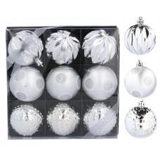Vianočné gule 9 kusov 6 cm Inlea4Fun - strieborné Preview