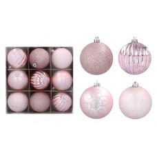 Vianočné gule 9 kusov 8 cm Inlea4Fun - ruzové Preview
