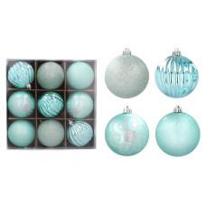 Vianočné gule 9 kusov 8 cm Inlea4Fun - mätové Preview