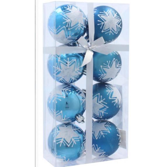 Inlea4Fun Vianočné gule 8 kusov 6 cm - Modré/Hviezda