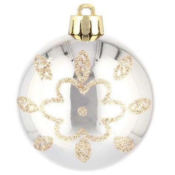 Inlea4Fun Vianočné gule 80 kusov 6 cm - zlaté a strieborné
