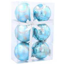 Vianočné gule 6 kusov 7 cm Inlea4Fun - Modré/stromček-hviezda Preview