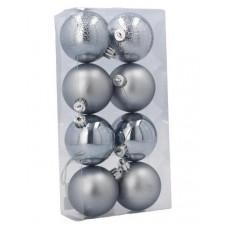 Inlea4Fun Vianočné gule 8 kusov 6 cm - strieborné
