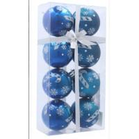 Inlea4Fun Vianočné gule 8 kusov 6 cm - Modré/Vianočné lízatko