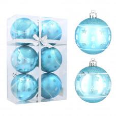 Vianočné gule 6 kusov 8 cm Inlea4Fun - Modré/stromček-hviezda Preview