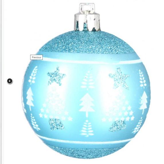 Inlea4Fun Vianočné gule 6 kusov 8 cm - Modré/stromček-hviezda