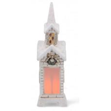 Inlea4Fun Zasnežený lampáš kostol s LED svetlom Preview