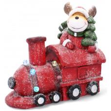 Inlea4Fun Vianočný sob na červenej lokomotíve 38 cm LED Preview