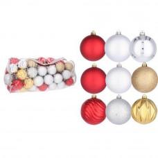 Inlea4Fun Vianočné gule 80 kusov - zlaté, strieborné a červené Preview