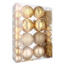 Inlea4Fun Vianočná sada 32 kusov gule + reťaze - zlatá Preview