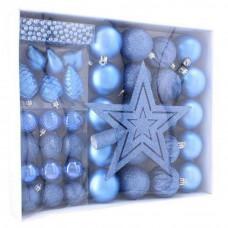Inlea4Fun Vianočná sada 40 kusov - gule + reťaz - modrá Preview