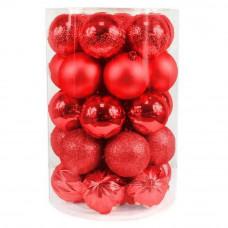 Inlea4Fun Vianočné gule 34 kusov - červené Preview