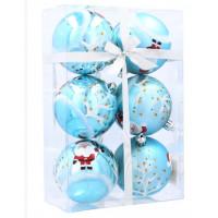 Inlea4Fun Vianočné gule 6 kusov 7 cm - Modré/Mikuláš