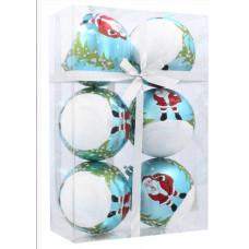 Vianočné gule 6 kusov 8cm Inlea4Fun - Biele-Modré/Mikuláš Preview